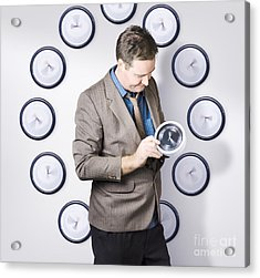 Time Management Business Man Looking At Clock Acrylic Print by Jorgo Photography - Wall Art Gallery