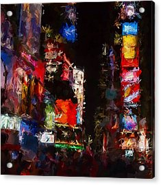 Times Square By Night Acrylic Print by Stefan Kuhn
