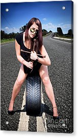 Tire Mechanic With Tyre Acrylic Print by Jorgo Photography - Wall Art Gallery