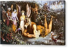 Titania And Bottom Acrylic Print by John Anster Fitzgerald