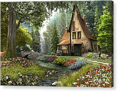 Toadstool Cottage Acrylic Print by Dominic Davison