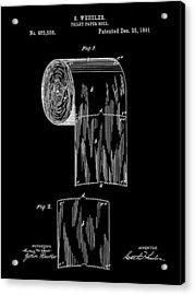 Toilet Paper Roll Patent 1891 - Black Acrylic Print