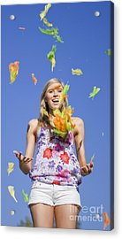 Toss The Feathers Acrylic Print