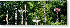 Totem Poles In A A Park, Stanley Park Acrylic Print by Panoramic Images