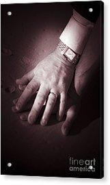 Touching Wedding Moment Acrylic Print by Jorgo Photography - Wall Art Gallery