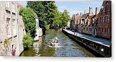 Tourboat In A Canal, Bruges, West Acrylic Print