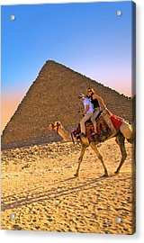 Tourists Ride A Camel In Front Acrylic Print by Miva Stock