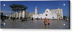 Tourists Walking In Front Of A Mosque Acrylic Print by Panoramic Images