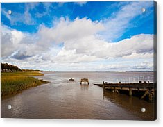 Town Pier On The Gironde River Acrylic Print