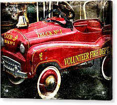 Toy Fire Truck Acrylic Print by Bobbi Feasel