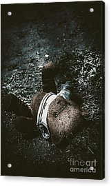 Toy Teddy Bear Lying Abandoned In A Dark Forest Acrylic Print