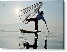 Traditional Bamboo Fisherman, Inle Acrylic Print
