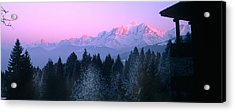 Trees With Snow Covered Mountains Acrylic Print