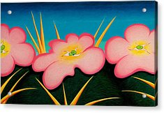 Acrylic Print featuring the drawing Tres Flores by Richard Dennis