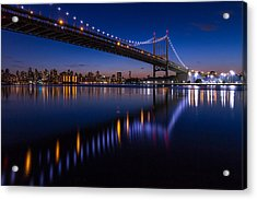 Triboro Bridge Ny At Twilight Acrylic Print by Paul Tomlin