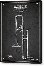 Trombone Patent From 1902 - Dark Acrylic Print by Aged Pixel