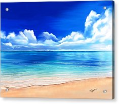 Acrylic Print featuring the digital art Tropical Blue by Anthony Fishburne
