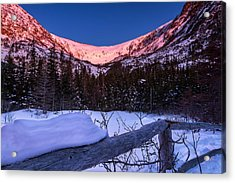 Tuckerman Ravine In The Winter Alpenglow Acrylic Print