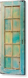 Turquoise And Pale Yellow Panel Door Acrylic Print by Asha Carolyn Young