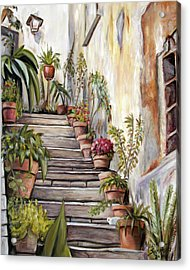 Acrylic Print featuring the painting Tuscan Steps by Melinda Saminski