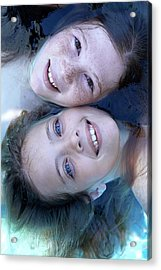 Two Girls Floating In Water Acrylic Print by Ruth Jenkinson