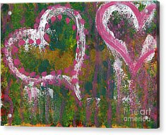 Two Hearts Acrylic Print by Angela Bruno