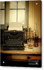 Typewriter And Whiskey Acrylic Print by Jill Battaglia