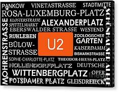 U Bahn Metro U2 Berlin Acrylic Print by Art Photography