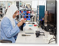 Uav Factory Construction Worker Acrylic Print by Jim West