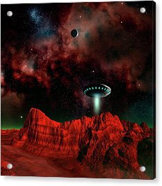 Ufo Over An Alien Planet Acrylic Print by Mehau Kulyk/science Photo Library