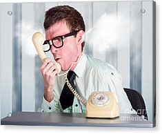 Unhappy Nerd Businessman Yelling Down Retro Phone Acrylic Print