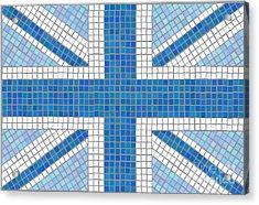 Union Jack Blue Acrylic Print by Jane Rix