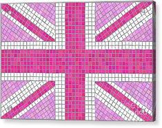Union Jack Pink Acrylic Print by Jane Rix