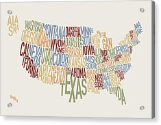 United States Text Map Acrylic Print