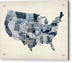 United States Watercolor Map Acrylic Print