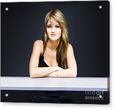 University Student Sitting At Classroom Desk Acrylic Print by Jorgo Photography - Wall Art Gallery