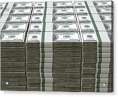 Us Dollar Notes Pile Acrylic Print by Allan Swart
