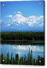 Usa, Alaska, Willow Lake And Mt Acrylic Print by Adam Jones
