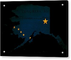 Usa American Alaska State Map Outline With Grunge Effect Flag Acrylic Print by Matthew Gibson