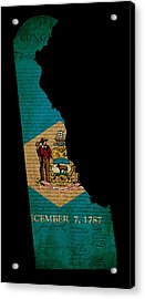 Usa American Delaware State Map Outline With Grunge Effect Flag  Acrylic Print by Matthew Gibson