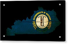 Usa American Kentucky State Map Outline With Grunge Effect Flag  Acrylic Print by Matthew Gibson