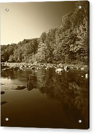 Usa, Vermont, Autumn Trees Reflected Acrylic Print by Adam Jones