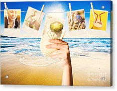 Vacation Woman With Photos From Summer Holiday Acrylic Print
