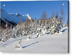 Valley Gaistal With Snow During Deep Acrylic Print by Martin Zwick