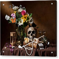 Vanitas With Flowers Bouquet-skull-hourglass-clay Pipe And Glassware Acrylic Print