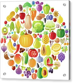 Vegetarian Rainbow Plate Withe Fruits Acrylic Print by O-che