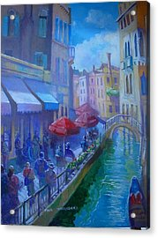 Acrylic Print featuring the painting Venice  Italy by Paul Weerasekera