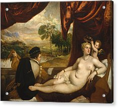Venus And The Lute Player Acrylic Print by Titian