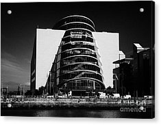 View Of The River Liffey And The Convention Centre Dublin Republic Of Ireland Acrylic Print by Joe Fox