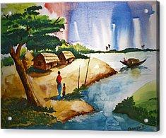 Village Landscape Of Bangladesh Acrylic Print by Shakhenabat Kasana